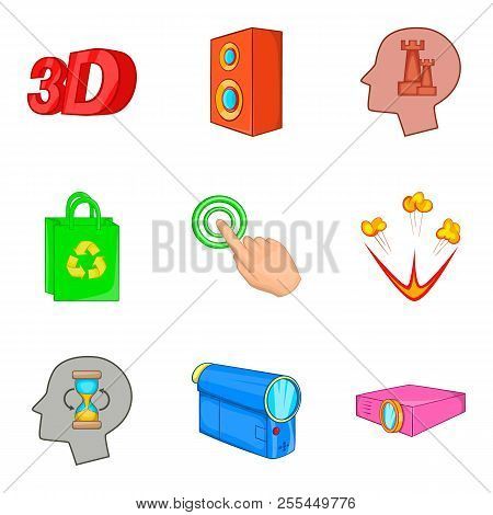 Pc Show Icons Set. Cartoon Set Of 9 Pc Show Icons For Web Isolated On White Background