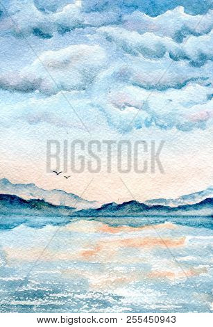 Clouds Over Sea, Hand Painted Watercolor Illustration