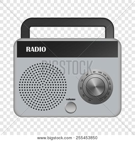 Grey Portable Radio Mockup. Realistic Illustration Of Grey Portable Radio Mockup For On Transparent