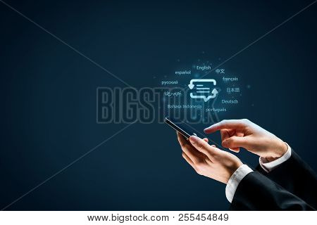 Translator App, Language Course And E-learning Concept. Person With Smart Phone, Symbol Of Translati