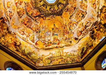 Beijing, China - November 25, 2017 Giorgio Vasari Fresco Jesus Last Judgment Dome Duomo Cathedral Sa