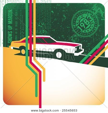 Illustrated retro layout with stylized car. Vector illustration.