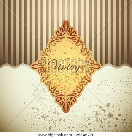 Illustrated background with vintage label. Vector illustration.