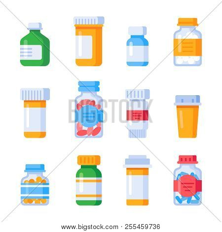 Flat Medicine Bottles. Vitamin Bottle With Prescription Label, Drug Pills Container Or Vitamins And