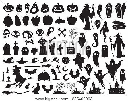 Halloween Silhouettes. Spooky Evil Witch, Creepy Grave Coffin And Wizard Silhouette. Pumpkin, Spider