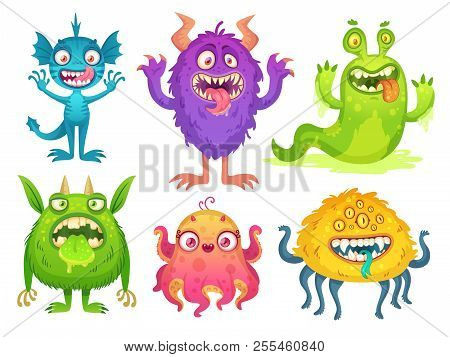 Cartoon Monster Mascot. Halloween Funny Monsters, Bizarre Gremlin With Horn And Furry Creations. Car