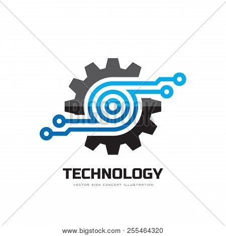 Digital Tech - Vector Business Logo Template Concept Illustration. Gear Electronic Factory Sign. Cog