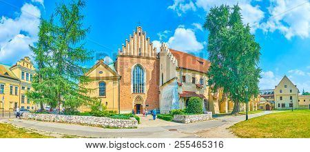 Krakow, Poland - June 11, 2018: Panoramic View On Frontage Of Church Of St Francis Of Assisi With Mo