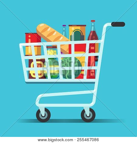Full Supermarket Shopping Cart. Shop Trolley With Food. Grocery Store Vector Icon. Illustration Of T