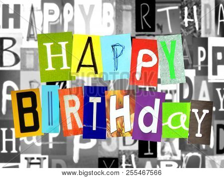 Happy birthday made of colorful newspaper letters cut out with newspaper letters cut out in background