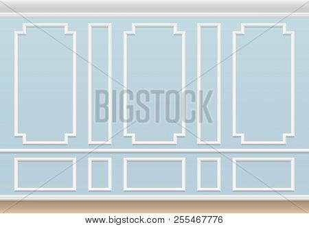 Classic Blue Wall With Moulding Panel. House Luxury Interior With Molding Frames. Vector Background