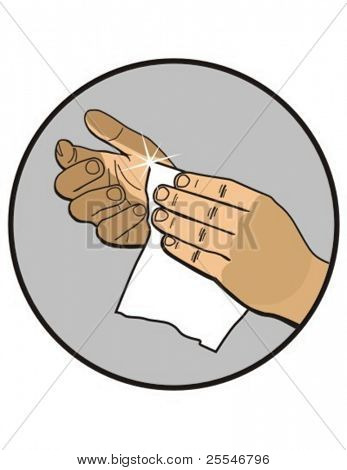 cleaning hands with wipe vector illustration