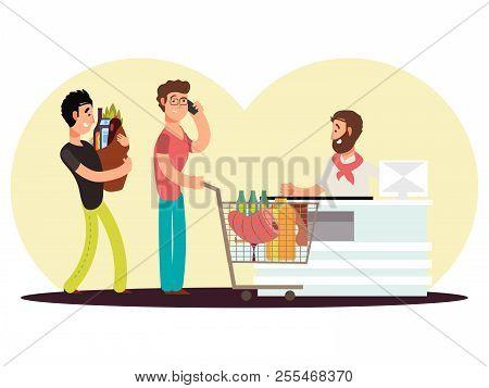 Cash Turn In Food Store. Cartoon Character Men Buy Food In Supermarket Vecor Illustration. Cash Queu