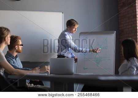 Male Speaker Giving Flipchart Presentation To Colleagues