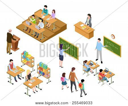 Isometric School. Children And Teacher In Classroom And Library. People In Uniform And Students. Sch