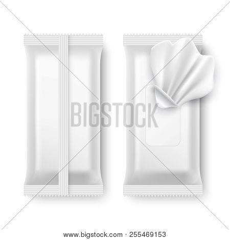Wet Wipe Package. White Napkin Packaging Isolated Vector Mockup. Package Wet Hygiene Wipe, Antibacte