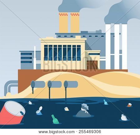 Industrial Waste. Polluted Dirty Water And Factory Dumping Wastewater River. Factory Wastewater And