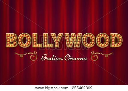 Bollywood Cinema Poster. Vintage Indian Classic Movie Vector Background With Red Curtains. Illustrat