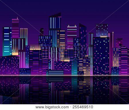Night City Skyline. Skyscraper With Neon Lights. Urban Cityscape With Buildings. 80s Retro Vector Ba