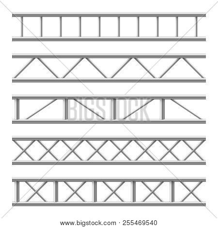 Steel Truss Girder Seamless Structure. Metal Framework For Billboard. Isolated Vector Set. Illustrat