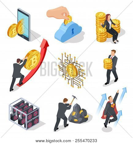 Ico And Blockchain Isometric Icons. Bitcoin Mining And Cryptocurrency Exchange. Vector 3d Isolated O