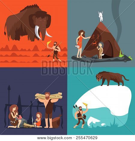 Stone Age Concepts. Prehistoric Ancient Human And Tools. Primitive Man In Cave Vector Cartoon Set. I
