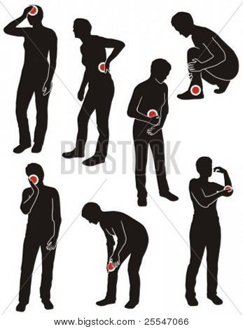 Set of illness people silhouette with pain dots.
