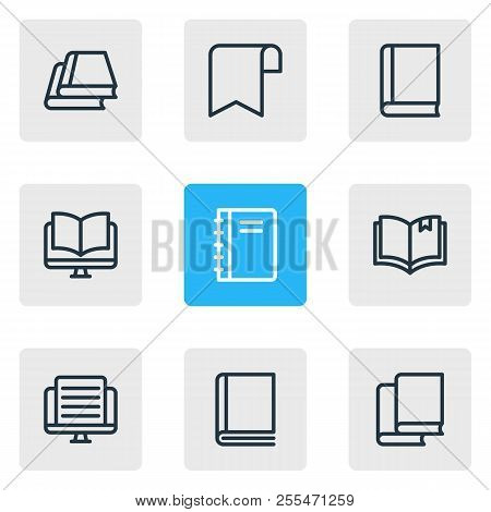 Illustration Of 9 Book Reading Icons Line Style. Editable Set Of Ribbon, Tutorial, Ebook And Other I