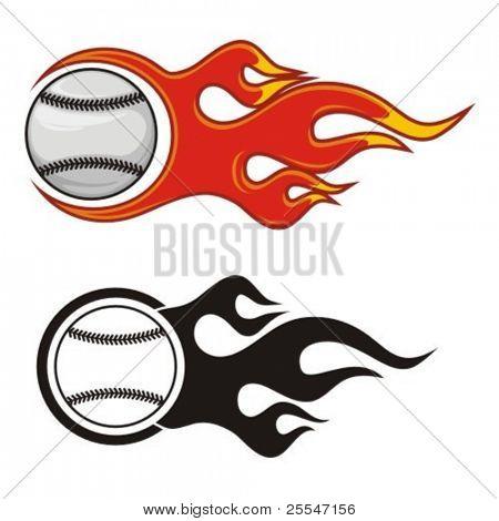 Flaming baseball ball. Vector illustration.