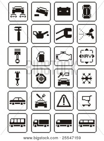 Auto repair digital - icons set. Vector illustration.