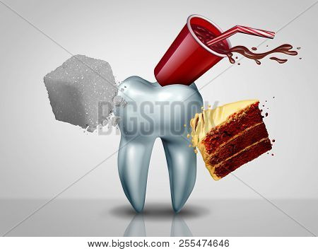 Effects Of Sugar On Teeth As An Oral Care Risk As A Dentistry Tooth Health As Sweet Food As An Acid