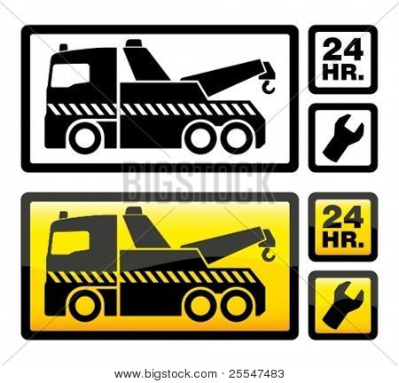 Roadside assistance car towing truck icon. Vector illustration.