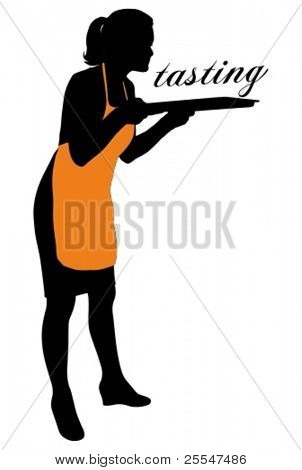 Vector illustration of silhouette housewife with apron is pleased with the aromas of her cooking.