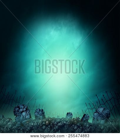 Spooky Graveyard  With Scary Tombstones Or Grave Stone In Fog As A Creepy Halloween Poster Design Wi