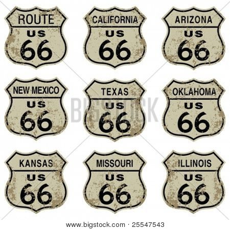 Route 66 highway signs.