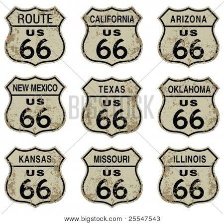 Sinais de estrada rota 66.