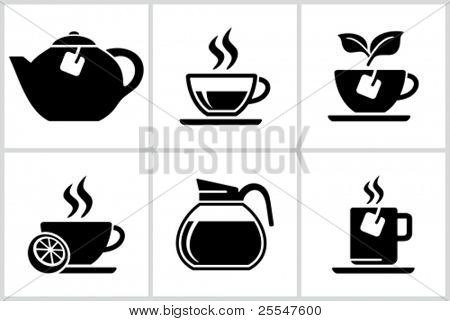Vector black tea icons set. All white areas are cut away from icons and black areas merged.