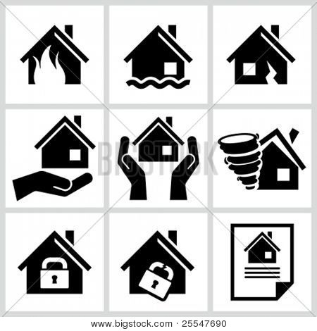 House insurance icons Set. All white areas are cut away from icons and black areas merged.