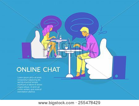 Online Chat Concept Vector Illustration Of Young Couple Sitting On Thumbs Up Symbols And Using Lapto