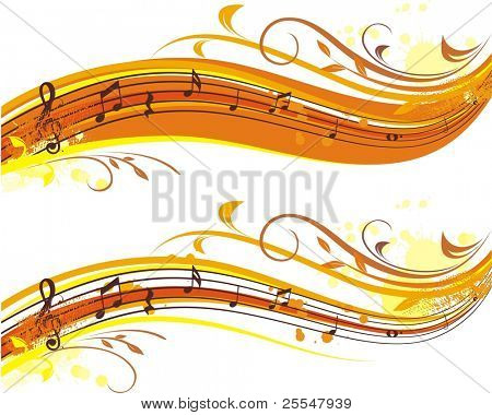 autumn musical banner,two variants for yor choice