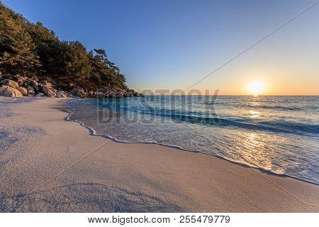 Sunrise In Marble Beach (saliara Beach), Thassos Islands, Greece. The Most Beautiful White Beach In