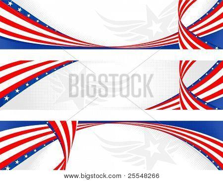 set of horizontal american theme banners