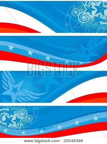 American theme horizontal banners set