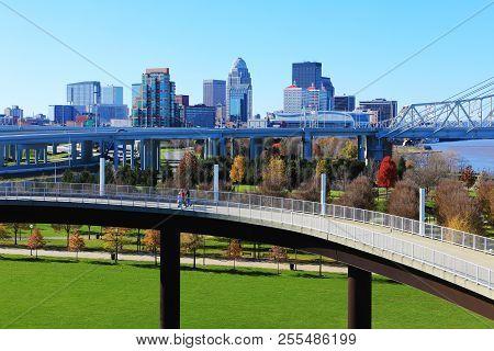 The Louisville, Kentucky Skyline With Pedestrian Walkway In Front