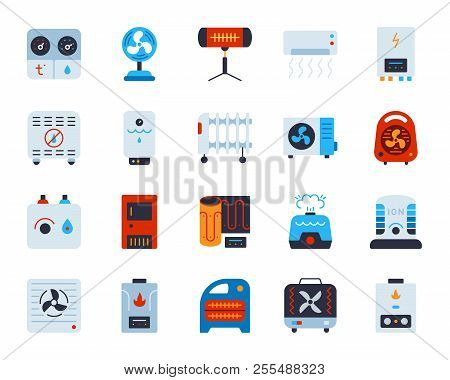 Hvac Flat Icons Set. Web Sign Kit Of Climatic Equipment. Fan Pictogram Collection Includes Hygromete