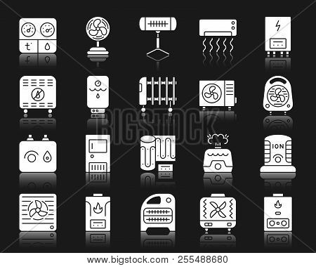 Hvac Silhouette Icons Set. Isolated Web Sign Kit Of Climatic Equipment. Fan Pictogram Collection Inc