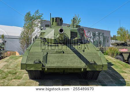 Kubinka, Russia, Aug.24, 2018: Last Generation Russian Battle Tank T-14 Armata Made By Uralvagonzavo