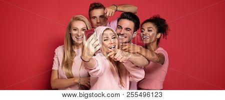Group Of People Taking Selfie.