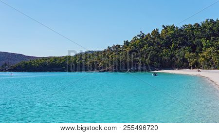 The Blue Water Of Whitehaven White Silica Sand Beach In Whitsunday Islands Australia