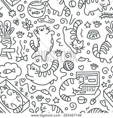 Seamless Pattern With Cute Cats Line Drawing. Playful Kitten Background, Cat Sleeping In Box, Play W
